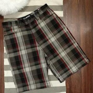 Men's Billabong Shorts Black Red Gray Plaid